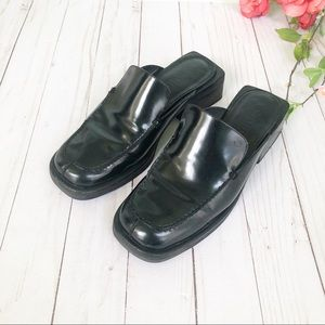 Cole Haan Black Leather Slip on Mules Size 7